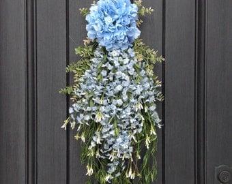 Spring Wreath Summer Wreath Teardrop Vertical Door Swag Decor Blue Hydrangea Floral Swag Floral Door Decoration