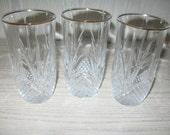 Cris D'Arques/Durand Diamant Diamond Leaf Pattern Qty 3 Water Glasses Discontinue 1965