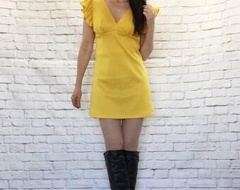 Vintage 60s Mod Yellow Ruffled Open Tie Back Micro Mini Dress S