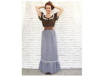 Vintage 70s Hostess Maxi Skirt Navy Blue Prairie Gingham Plaid Ruffled Rickrack Trim