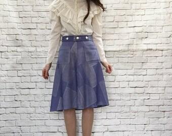 Vintage 70s Patchwork Print Faux Denim Wrap Skirt M Knee Length Blue High Waist