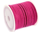 Faux Suede Cord :  5 meters (16 feet) Red Violet Pink 3x1.5mm Lace Cord | Flat Faux Leather Bracelet Cord |  Suede Cording 003-54
