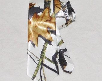 White satin camo tie.  Mossy Oak winter camouflage necktie