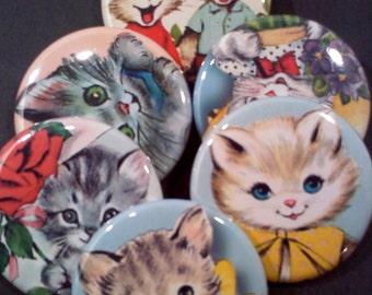 Set of 6 Adorable Cat/Kitten Buttons
