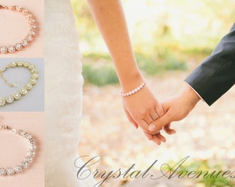 Crystal Wedding Bracelet, Rose Gold Bridal bracelet, Swarovski, Wedding Bridal Jewelry, Yellow Gold, Aanya Halo Crystal Bracelet