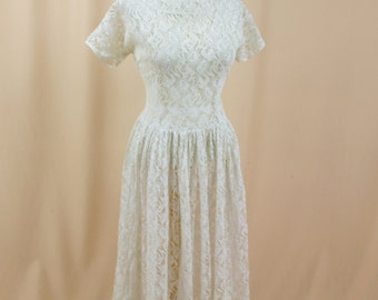 1940s Wedding Dress * White Wedding Dress * 40s Wedding Dress* Sheer Lace Dress * Full Skirt Dress * White Lace Wedding Dress * Large