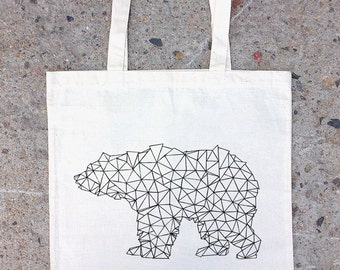 Tote Bag - Bear Made of Triangles - Natural Cotton Canvas Tote Bag