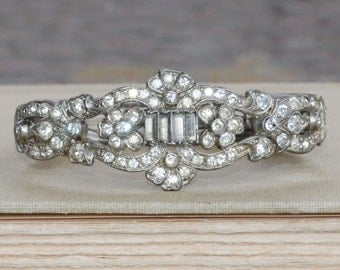 1920s ART DECO Paste Rhinestone Clamper Bracelet,Rhinestone Cuff Bracelet,Something Old,Gatsby,Flapper,Weddings,Bridal Bracelet,Heirloom