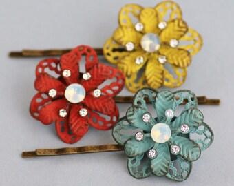Set of Three Patina Crystal Flower Bobby Pins, Set of Three Hair Pins,Vintage Style Flower,Mustard Yellow,Red,Aqua Blue Green,White Opal