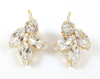 Clear Crystal Earrings Swarovski Crystal Bridal Earrings - Large Cluster Gold Wedding Earrings