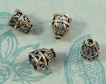 Antique Silver Cones - 7.5x10mm - Pefect for Viking Knit - Decorative Bali Style Design - 10 Pieces
