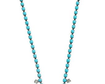 Teal Blue Painted Rhinestone Necklace Vintage Jewelry Modern Bridesmaid Necklace Candy Colored Bridesmaid GIft 1000482