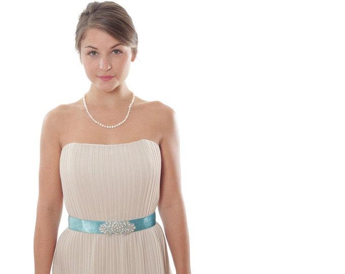 Teal Velvet Belt W/ Art Deco Rhinestones- Ready To Ship Wedding Accessory Something Blue Handcrafted Unique Bridesmaid Sash 1000215