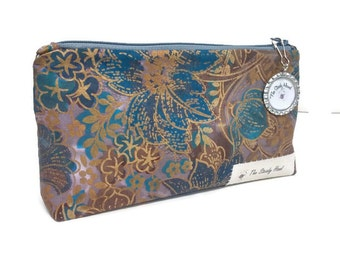 Small Green and Glitter Gold Hand Dyed Batik Zipper Storage Pouch S148