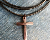 Handcrafted Copper Cross  pendant necklace - Leather Cord necklace or choker