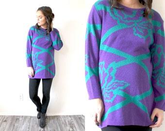Vintage floral sweater // neon purple sweater // bright floral sweater // bright purple top // oversized sweater // jumper // sweater dress