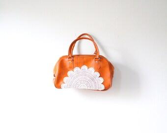 Vintage caramel tan lace doily bag // up-cycled purse // boho overnight bag // luggage bag // lace crochet luggage bag // large travel bag