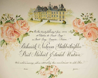 Marriage Certificate with guest signature lines.  Guest book alternative.  Quaker Certificate.