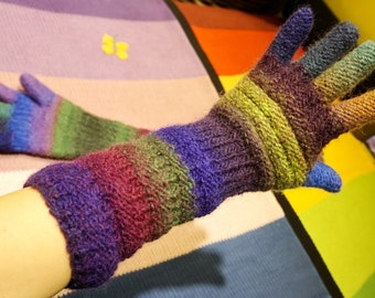 100% magic wool thick felted multicolored long gloves with long fingers in purple, green, violet, yellow, blue and brown with grey BestKnits