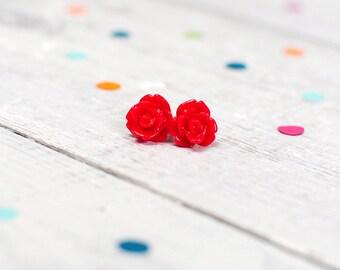 Red Rose Ring, Flower Ring, Adjustable, Nickel Free