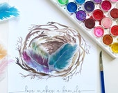 Love Makes a Family - Watercolor Feathers & Nest Print, Gift Idea for New Moms, Adoption Gift, Mixed Media Artwork, Personalized Mothers Day