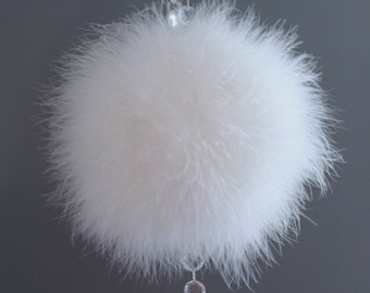 White Marabou Feather Pomander with Crystal Accents