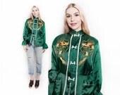 Vintage 50s Japanese Jacket - Embroidered Dragon Souvenir Loungewear Emerald 1950s - Large