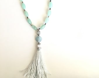 Aqua Tassel Necklace