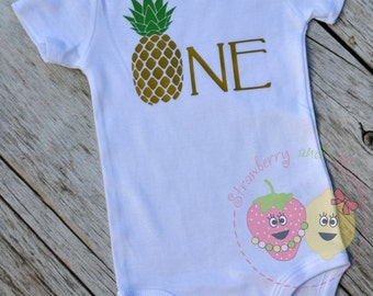 First Birthday Shirt ~ Birthday Shirt ~ Baby's First Birthday ~ Aloha Birthday ~ Pineapple Shirt ~ Luau Birthday Party ~ First Birthday