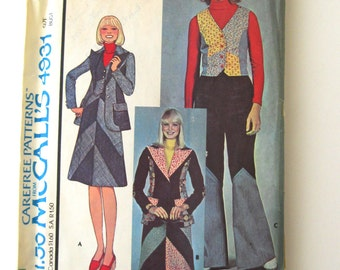 1970s Patchwork Jacket Skirt Pants Pattern McCalls 4931 Womens Boho Hippie Blazer Bias Skirt Wide Leg Pants Pattern Size 10 Bust 32.5 UNCUT