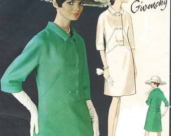 1960s Givenchy Womens One Piece Dress Kimono Sleeves Vogue Sewing Pattern 1818 Size 18 Bust 38 UnCut Label Included Vintage Paris Original