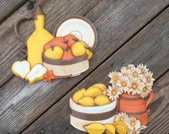 Homco Wall Hangings Daisies Fruit Yellow Orange White