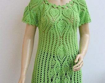 Crocheted Green limone tunic