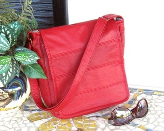 Recycled Leather Crossbody Handbag / Messenger Bag in Red - Upcycled Leather Bag