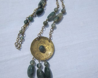 Moss Agate and Brass Pendant Bead Necklace