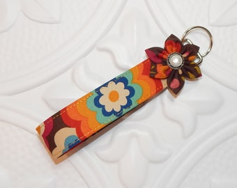 Keychain Key Fob - Fabric Keychain - Key Fob Wristlet - Teacher Appreciation - Key Lanyard - Brown Print