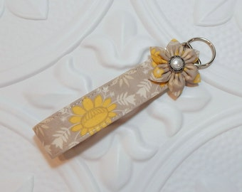 Key Fob - Wristlet Key Fob - Keychain -  Taupe Gold And Cream