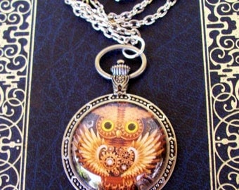Steampunk Owl Pendant (N604) - Graphic Under Glass - Faux Pocket Watch Frame - Silver Chain