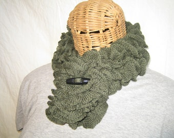 Knitted Olive Green ruffle women's button wrapped neck scarf cowl Merino Wool Blend