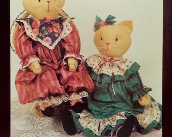 """Lacey the Cat 24"""" Doll with Victorian Dress Designed by Suzy Collins, Connie Broemner and Pat Waelder  by Hickory Stick and Co #H131 Vintage"""