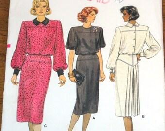 Vogue 9406 Blouson Dress, Yoked Skirt, Back Pleat, Womens Misses Vintage 1980s Sewing Pattern Size 6 8 10 Bust 30 31 32 Uncut Factory Folds