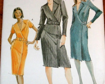 Easy Sewing Pattern Vogue 7761, A-line Wrap Coat Dress, Fold Back Collar, Belt, Womens Misses Size 6 8 10 Bust 30 31 32 Uncut Factory Folds