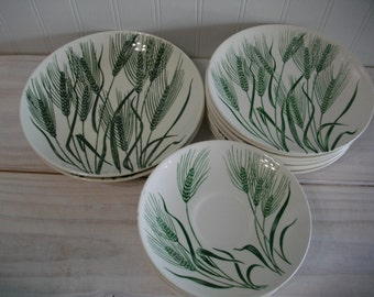 Homer Laughlin  Wheat Americana Green and White China Dishes Partial Set, Mid Century Vintage China, Wheat Dishes, Vintage Collectible China