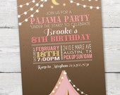 Pink Tent Pajama Party Invitation, PRINTABLE Pajama Party Invite, SleepOver Invitation, SleepOver Birthday Invitation, Pajama Party