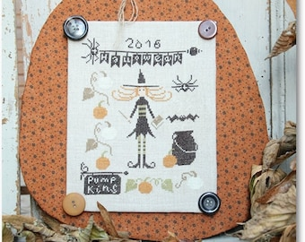 Pumpkins for Halloween : Madame Chantilly counted cross stitch patterns Halloween witch embroidery The Cottage Needle