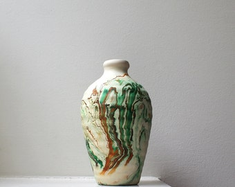 Vintage Swirled Nemadji Pottery Vase Large Ribbed Hand Deco Rust Green Native American Style