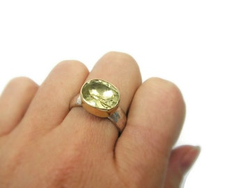 Lemon Quartz ring. Sterling silver & 9k gold Lemon quartz ring (gsr-7085) lemon quartz jewelry, gift for her, anniversary