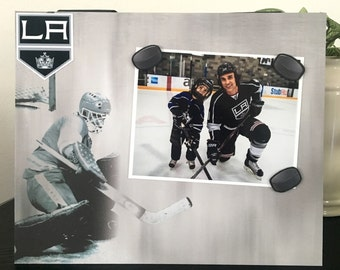"LA Kings Ice Hockey Sports team Player Coach mom dad gift custom handmade magnetic picture frame holds 5"" x 7"" photo 9"" x 11"" size"