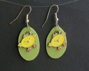 Easter Chick Earrings Easter earrings Chick earrings guitar pic earrings duck earrings chicken earrings light weight earrings yellow earring