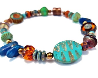 Multi color bracelet with colorful Czech glass & gemstones - bohemian bracelet - strong magnetic bracelets - bohemian jewelry - boho